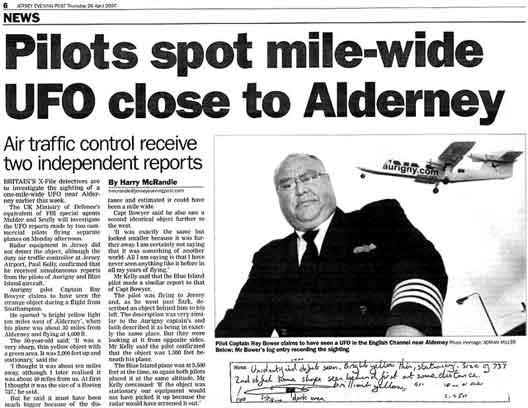Pilotes choqués par une observation d'ovni Alderney