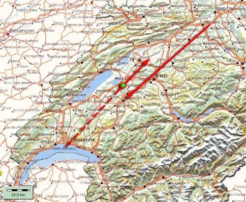 Le 5 novembre 1990 en Suisse romande Avion_map3